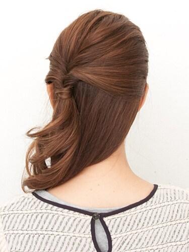 【まとめ髪】ポンパドール風ハーフアップ